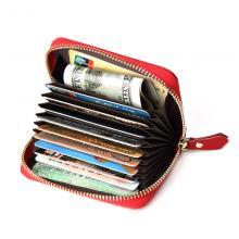 真皮卡包 润拓OEM订制 红色 黑色头层牛皮卡包 钱包